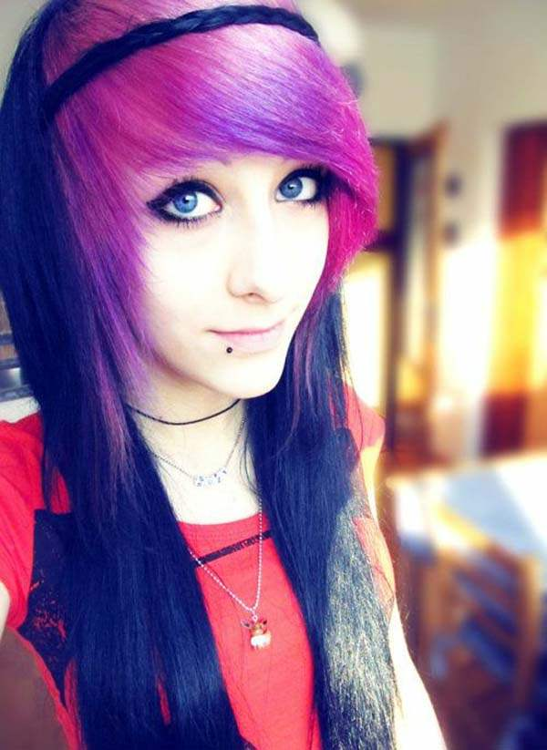 28d2803d823 Emo fashion hairstyle come in many shades, just like bright purple.