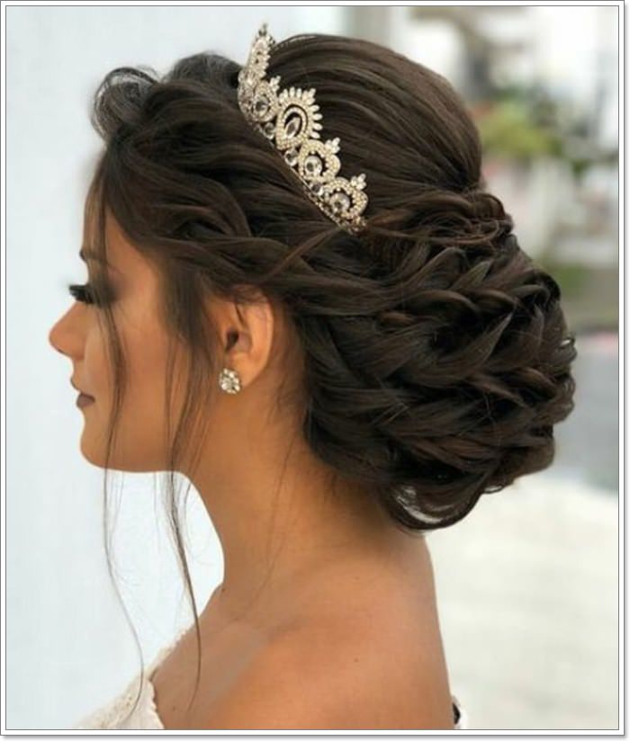 quinceanera hairstyles with curls and tiara hair down ...  |Beautiful Hairstyles For Quinceaneras