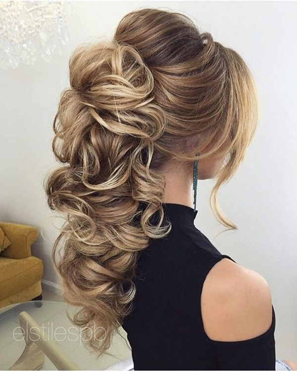 Teased hair with curly ponytail