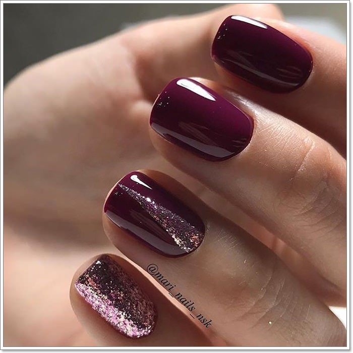 Short Burgundy Nails